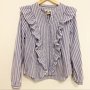 Madewell Ruffle Long Sleeve Striped Button Blouse